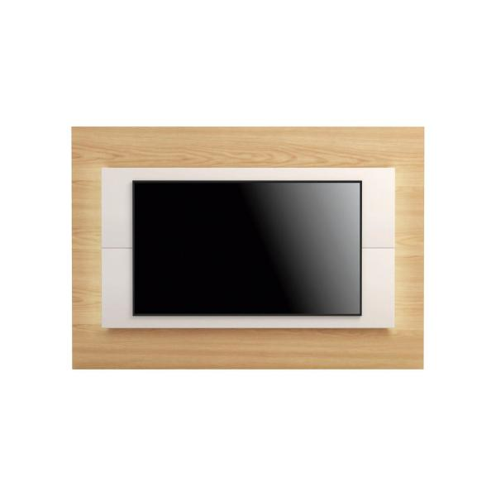 Manhattan Comfort Sylvan 70.86 in. Nature Wood and Off-White TV Panel