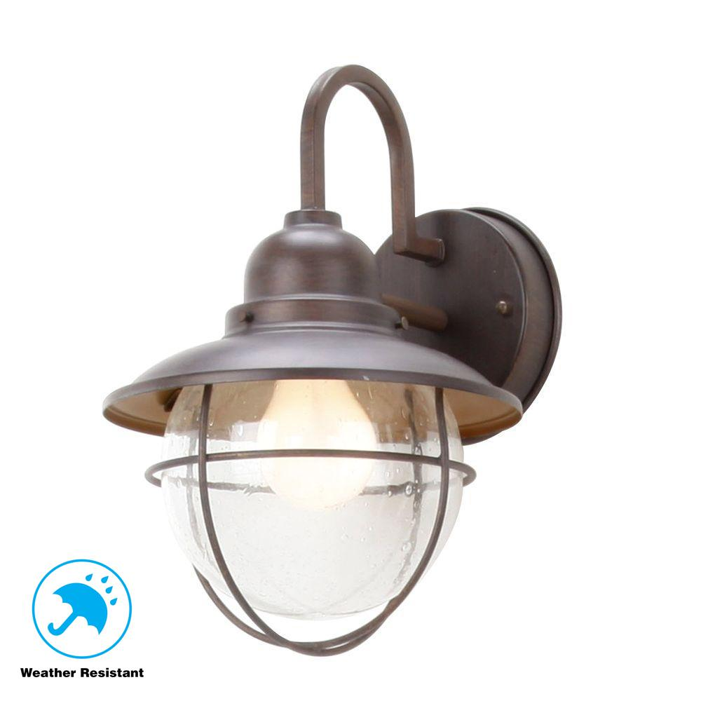 1-Light Brick Patina Outdoor Cottage Wall Lantern Sconce