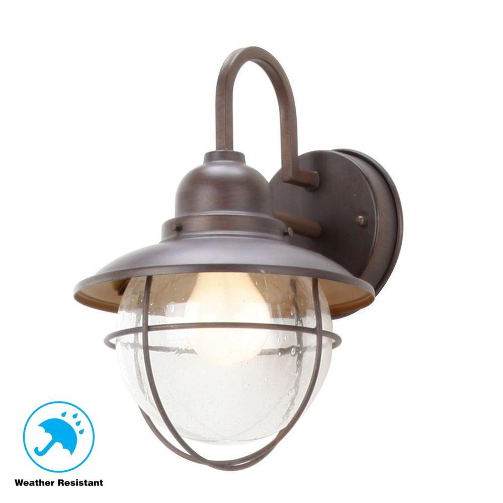 1-Light Brick Patina Outdoor Cottage Wall Lantern Sconce