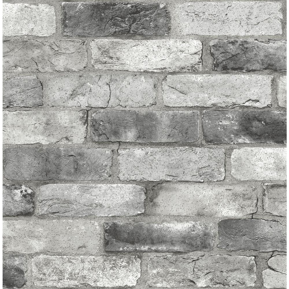 Grey London Brick Greys Vinyl Strippable Roll (Covers 30.75 sq. ft.)