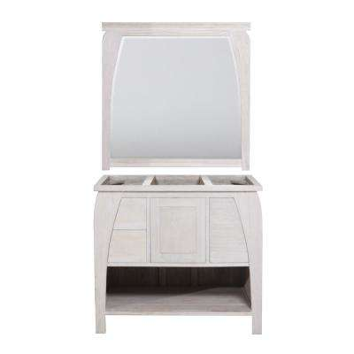 Tranquility 36 in. W Teak Vanity Bath Cabinet Only With Mirror in Driftwood