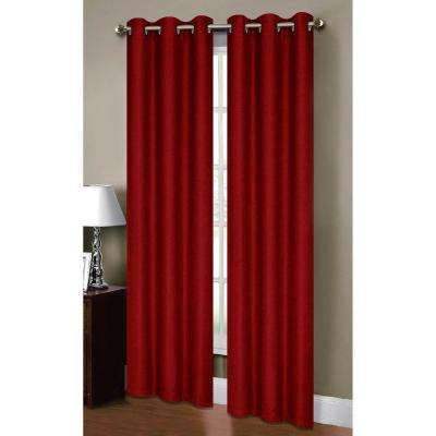 Semi-Opaque Henley Faux Linen 84 in. L Room Darkening Grommet Curtain Panel Pair, Chili (Set of 2)