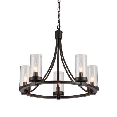 Newton 5-Light Black Pendant with Glass Shade