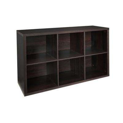30 in. W x 44 in. H Decorative Black Walnut 6-Cube Organizer