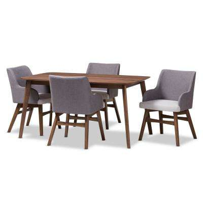 Monte 5-Piece Gray and Walnut Brown Dining Set