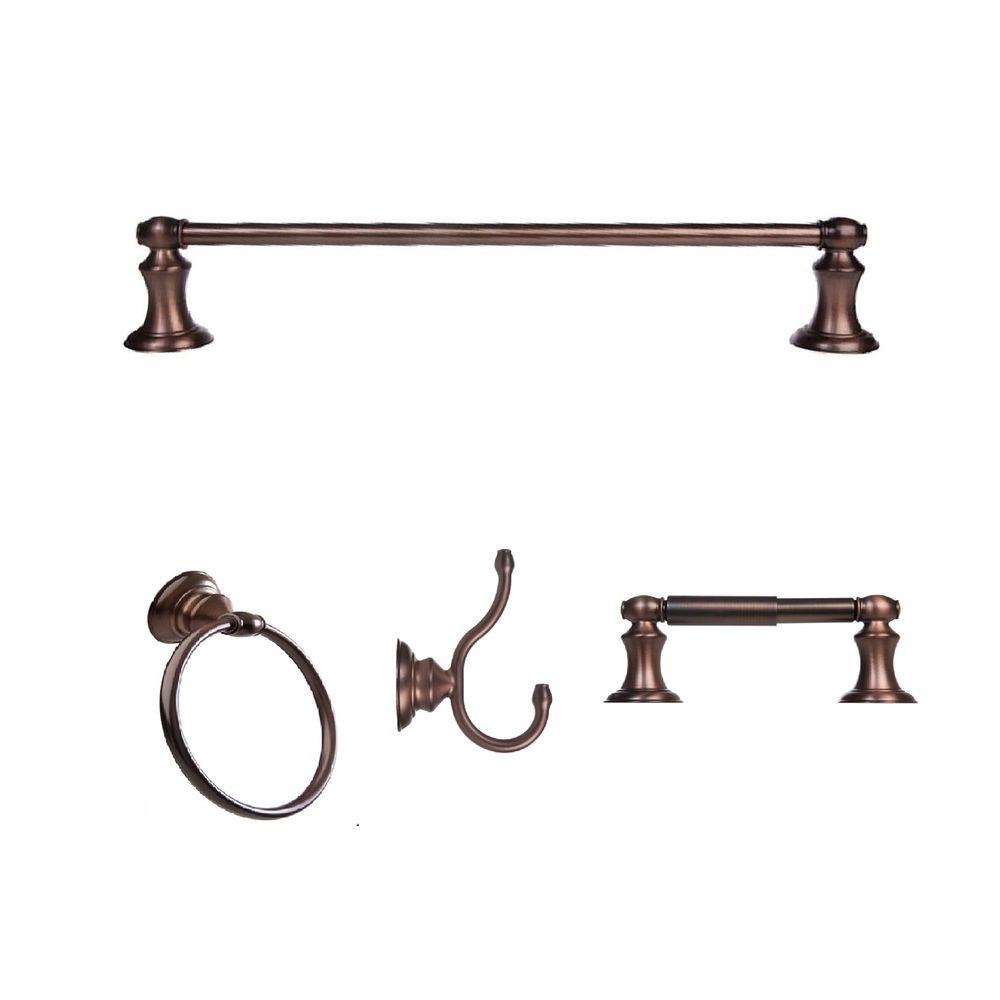 Highlander Collection 4-Piece Bathroom Hardware Kit in Oil-Rubbed Bronze
