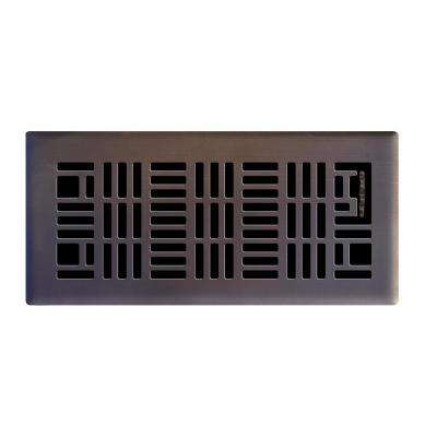 4 in. x 10 in. Art Nouveau Floor Register in Oil Rubbed Bronze