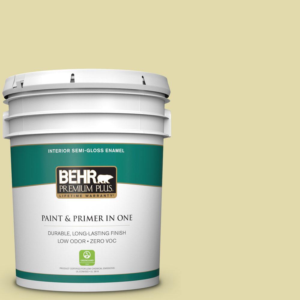BEHR Premium Plus 5-gal. #400C-3 Dried Palm Zero VOC Semi-Gloss Enamel Interior Paint
