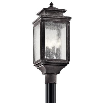 Wiscombe Park 4-Light Weathered Zinc Outdoor Post Light with Clear Seeded Glass