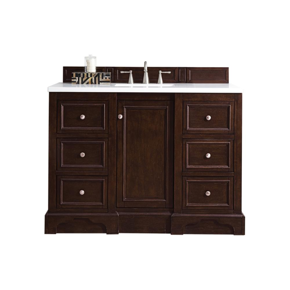 James Martin Vanities De Soto 48 in. W Single Vanity in Burnished Mahogany with Soild Surface Vanity Top in Arctic Fall with White Basin