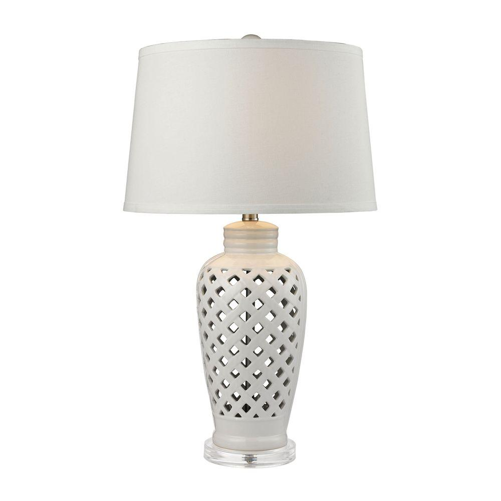 Titan Lighting Openwork 27 In White Ceramic Table Lamp With White Shade