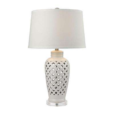 Openwork 27 in. White Ceramic Table Lamp with White Shade