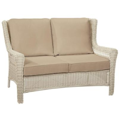 Park Meadows Off-White Wicker Outdoor Patio Loveseat with Sunbrella Beige Tan Cushions