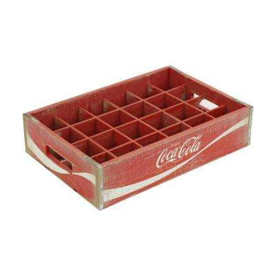 16.875 in. x 11.5 in. x 4 in. Coca-Cola 24-Grid Divided Crate in Vintage Red