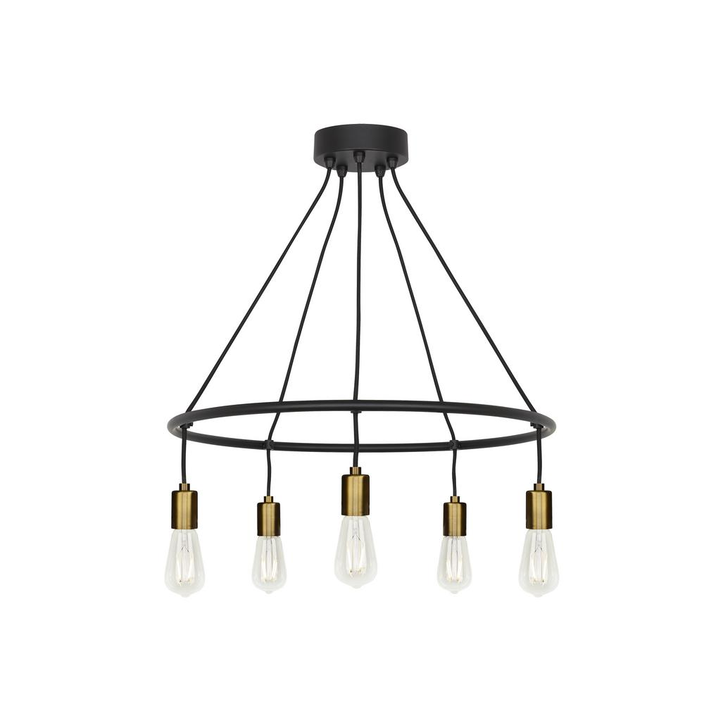 Lbl Lighting Tae 5-Light Black/Aged Brass Chandelier