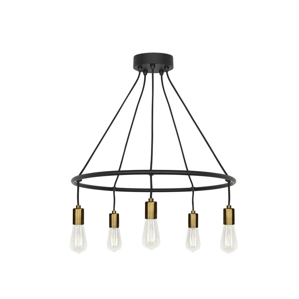 Tae 5-Light Black/Aged Brass Chandelier