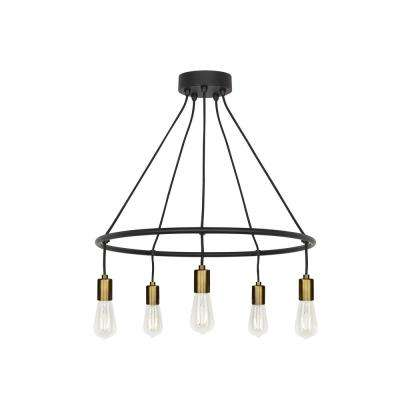 Tae 5-Light Black/Aged Brass Chandelier with LED Bulbs