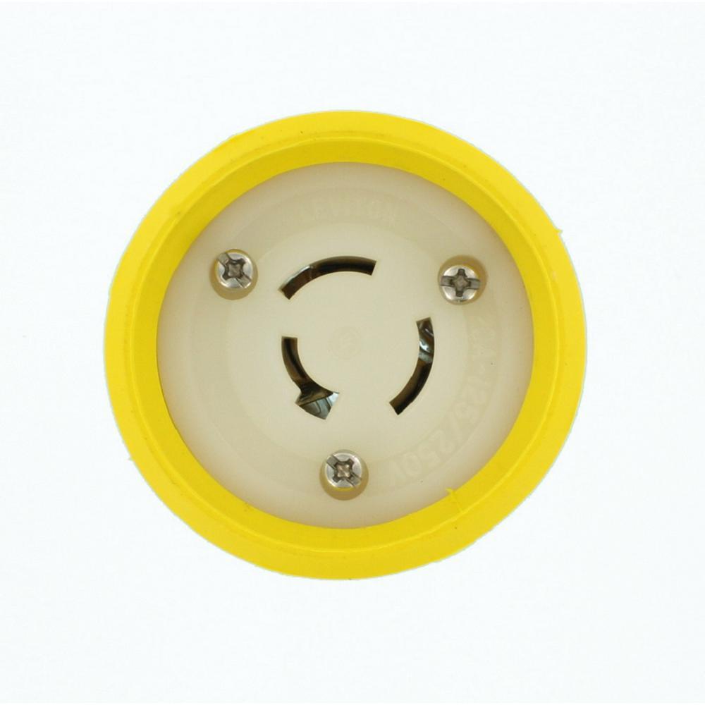 20 Amp 125/250-Volt Locking Grounding Connector, Yellow