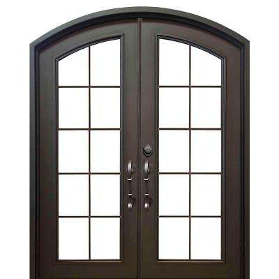 62 in. x 81 in. Eyebrow Key Largo Dark Bronze Full Lite Painted Wrought Iron Prehung Front Door (Hardware Included)
