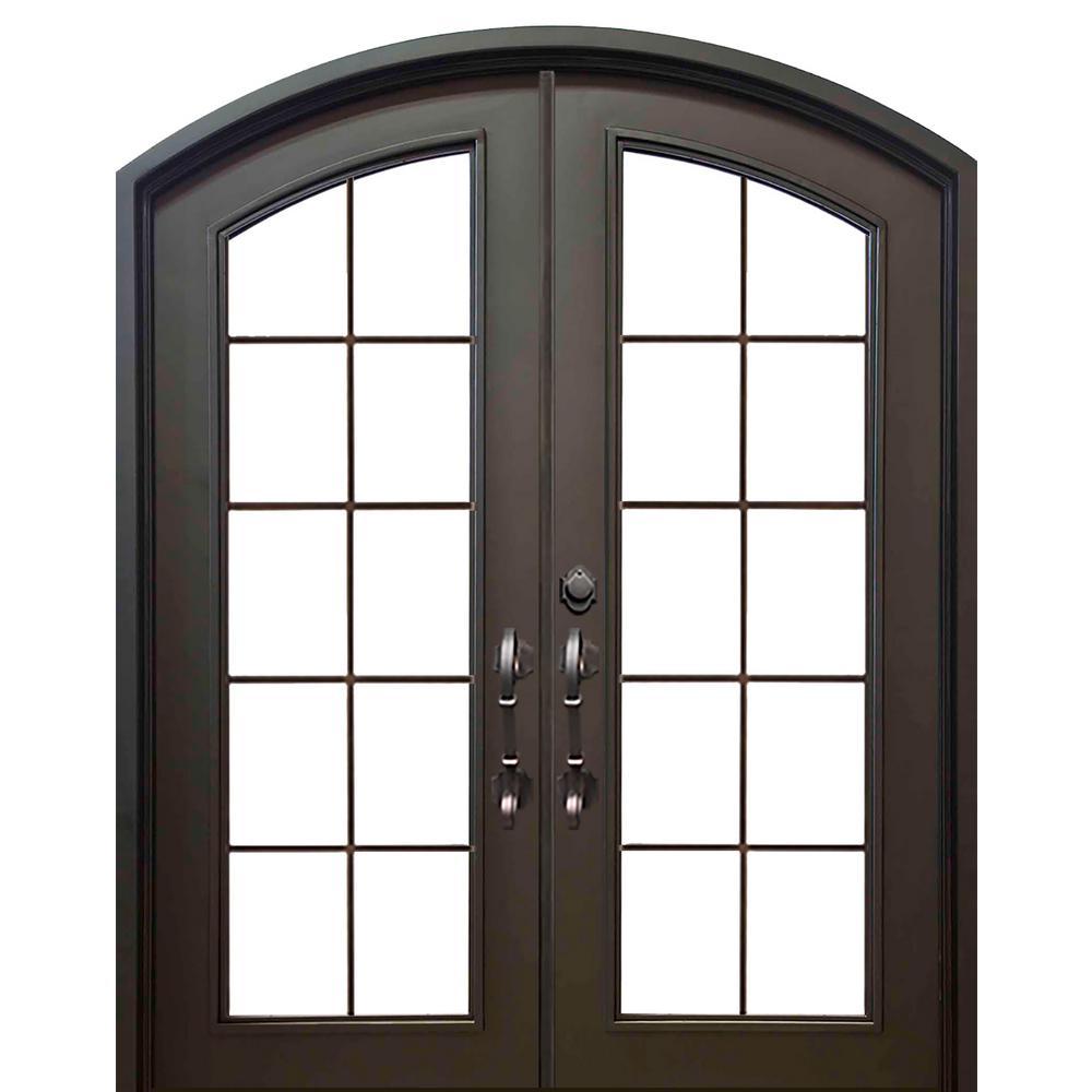 62 in. x 81 in. Eyebrow Key Largo Dark Bronze Full Lite Painted Wrought Iron Prehung Front Door (Hardware Included)
