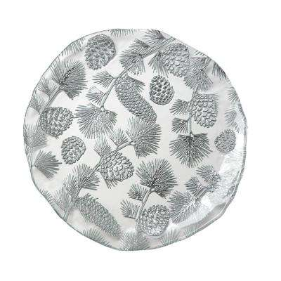 13 in. Winterpine Clear Glass Platter with Silver Accents