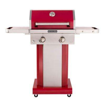 2-Burner Propane Gas Grill in Red with Grill Cover