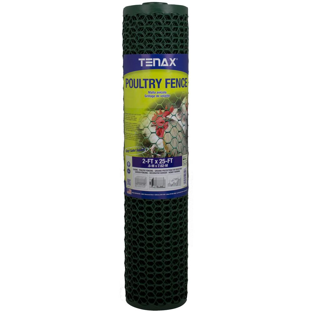 Tenax 2 ft. x 25 ft. Green Poultry Hex Fence-060789 - The Home Depot