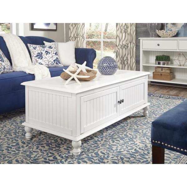 International Concepts Cottage Beach 48 In White Large Rectangle Wood Coffee Table Ot07 20c2 The Home Depot