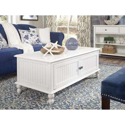 Cottage Beach White 2-Door Coffee Table