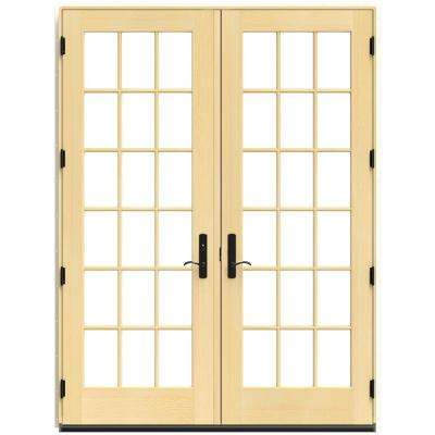 72 in. x 96 in. W-4500 Black Clad Wood Right-Hand 18 Lite French Patio Door w/Lacquered Interior
