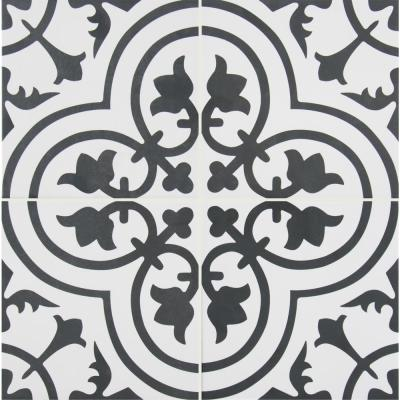 Take Home Tile Sample - Amantus Encaustic 8 in. x 8 in. Glazed Porcelain Floor and Wall Tile - 4 in. x 4 in