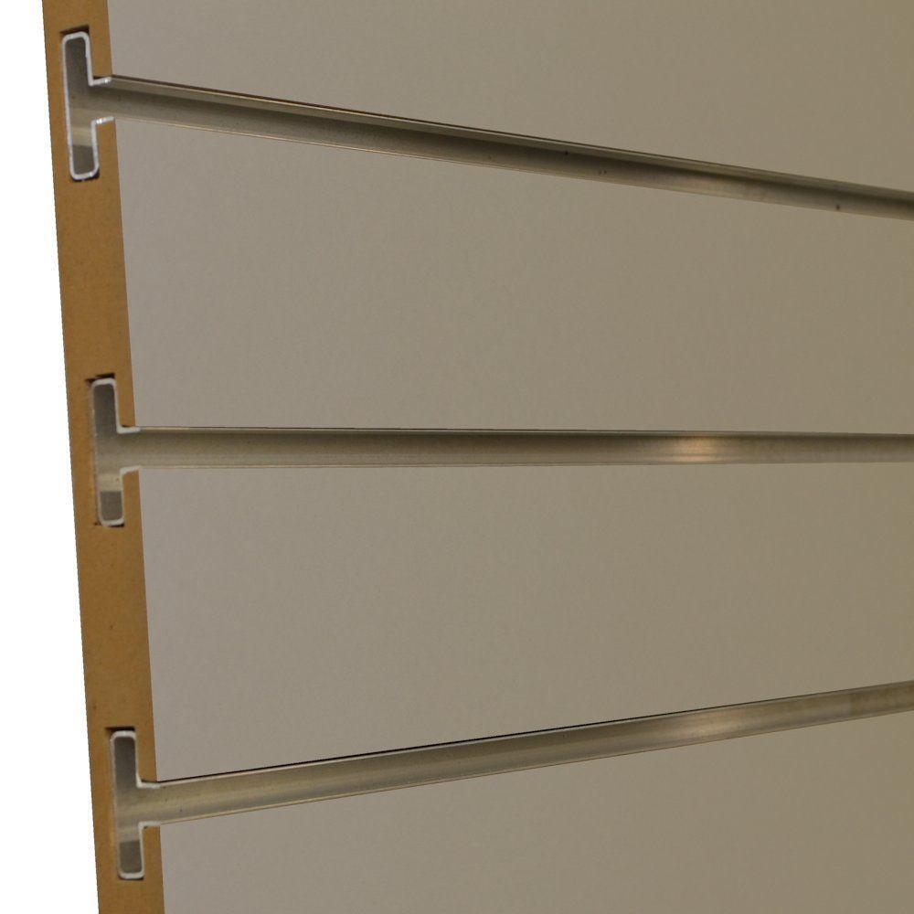 Gabriel Logan 3/4 in. x 4 ft. x 8 ft. 3 in. OC Fog Grey Melamine Slatwall with Aluminum Inserts, Plus 3 Inserts (5-Pack)