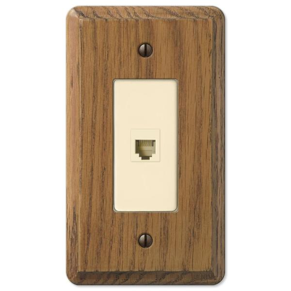 Contemporary 1 Gang Phone Wood Wall Plate - Medium Oak