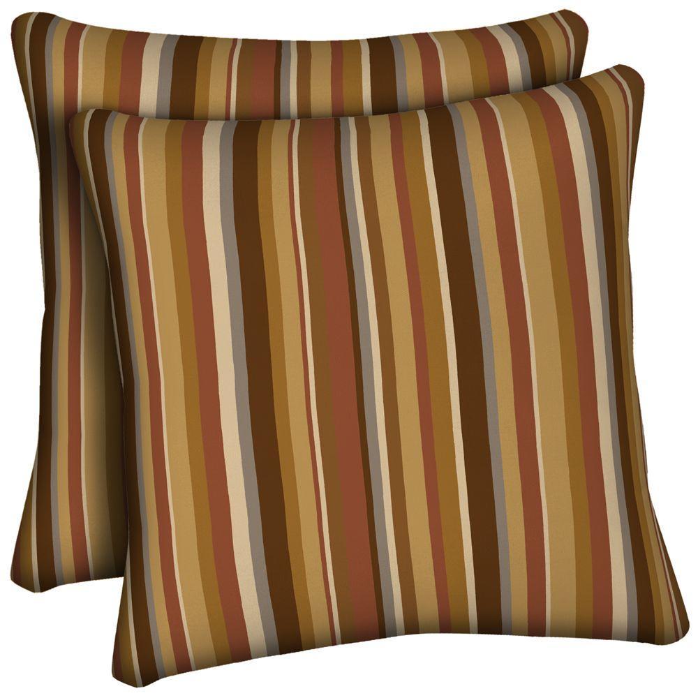 Hampton Bay Rustic Stripe Outdoor Throw Pillow (2-Pack)