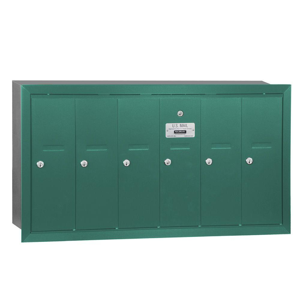 Green Recessed-Mounted USPS Access Vertical Mailbox with 6 Doors