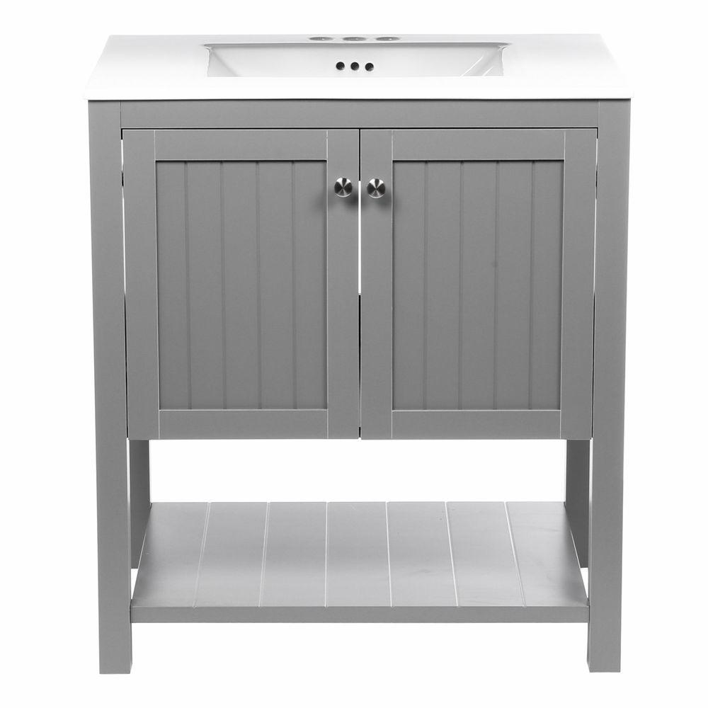 Home Decorators Collection Cranbury 30 in  Vanity in Cool Gray with  Vitreous China Vanity Top. Home Decorators Collection Cranbury 30 in  Vanity in Cool Gray