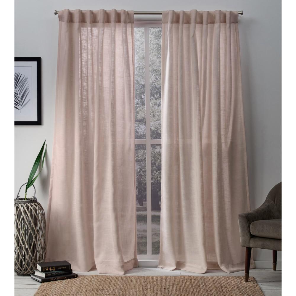Bella 54 in. W x 96 in. L Sheer Hidden Tab Top Curtain Panel in Rose (2 Panels)