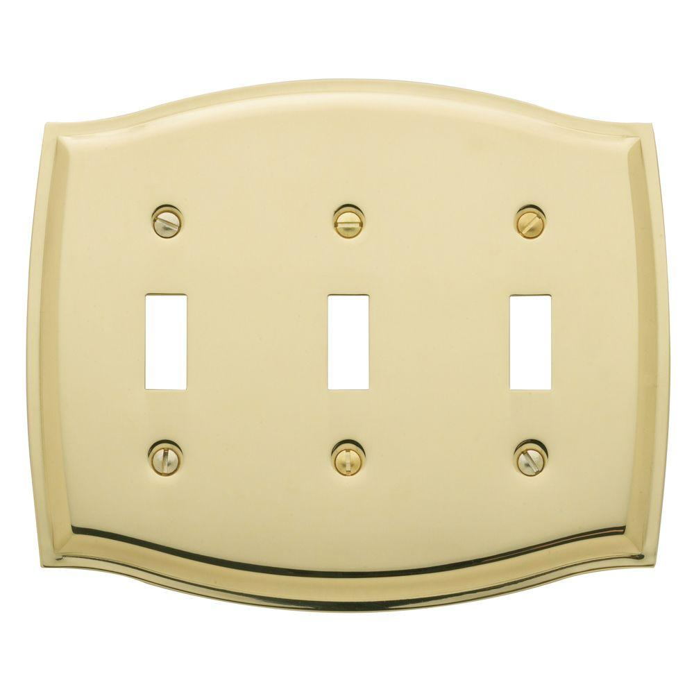 Colonial 3 Toggle Wall Plate - Polished Brass