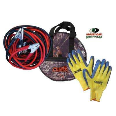 30 ft. Industrial-Commercial Grade 1 Gauge Booster Jumper Cables, 800-Amp Clamps, Gloves, High Quality Camo Storage Bag