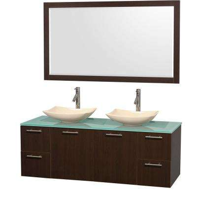 Amare 60 in. Double Vanity in Espresso with Glass Vanity Top in Green, Marble Sinks and 58 in. Mirror