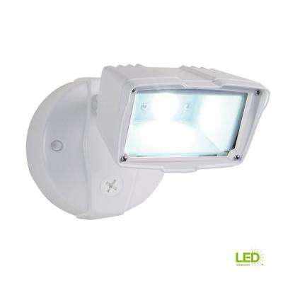 White Outdoor Integrated LED Small-Head Security Flood Light with 1475 Lumens, 5000K Daylight, Switch Controlled