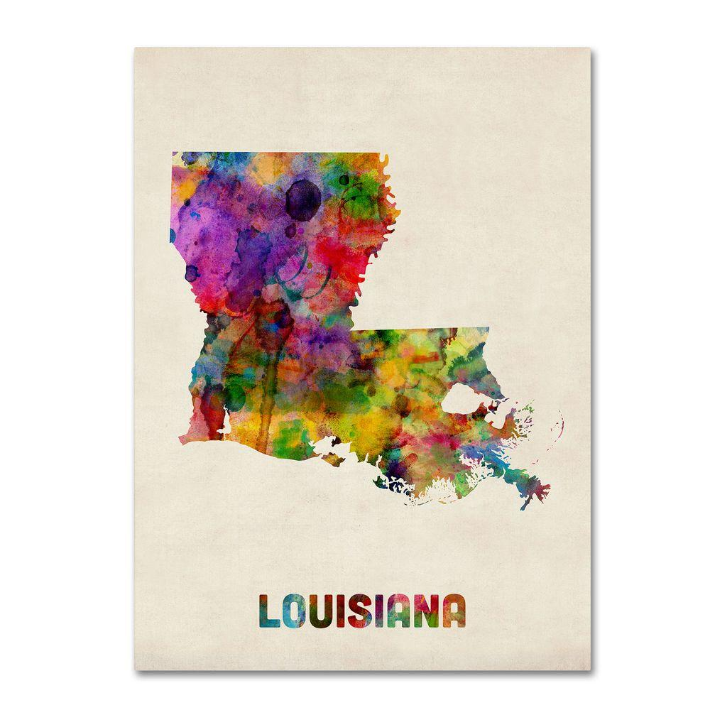 null 18 in. x 24 in. Louisiana Map Canvas Art