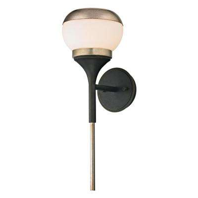 Alchemy 40-Watt Vintage Bronze and Champagne Silver Leaf Integrated LED Wall Sconce with Opal White Glass Shade