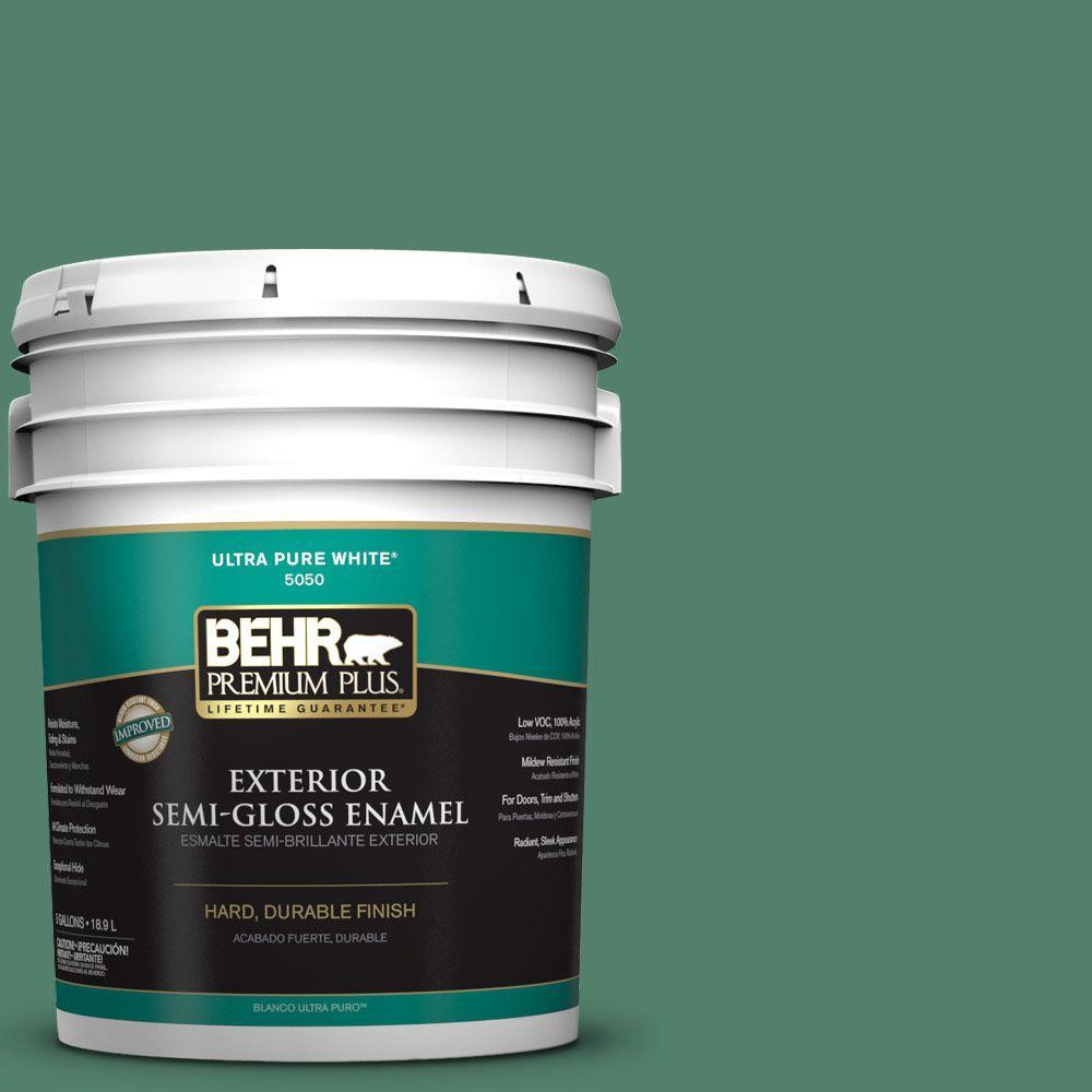 BEHR Premium Plus 5-gal. #M430-6 Park Bench Semi-Gloss Enamel Exterior Paint