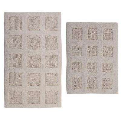 Square Honey Comb Ivory 17 in. x 24 in. and 30 in. x 20 in. 2-Piece Reversible Bath Rug Set