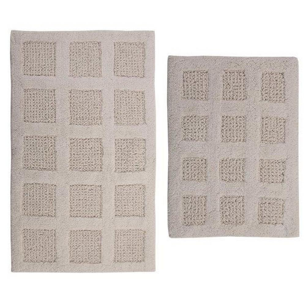 17 In. X 24 In. And Ivory 21 In. X 34 In. Square Honey Comb Reversible Bath Rug Set (2 Piece)