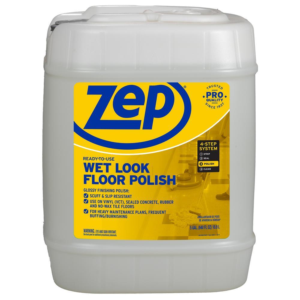 Wax Floor Cleaner: ZEP 5-Gallon Wet-Look Floor Polish-ZUWLFF5G