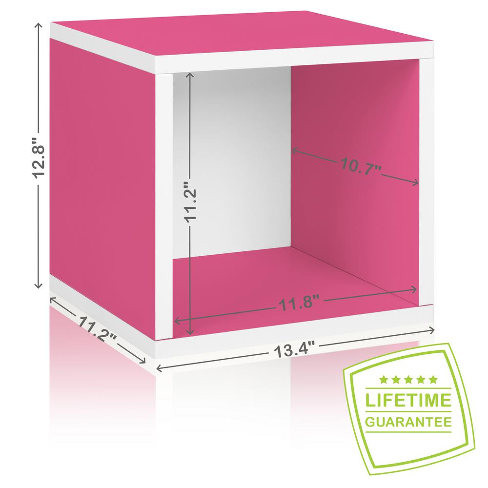 Way Basics Eco Stackable zBoard  11.2 x 13.4 x 12.8 Tool-Free Assembly Storage Cube Unit Organizer in Pink