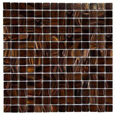 Coppa Brown Gold 12 in. x 12 in. x 4 mm Glass Mosaic Tile