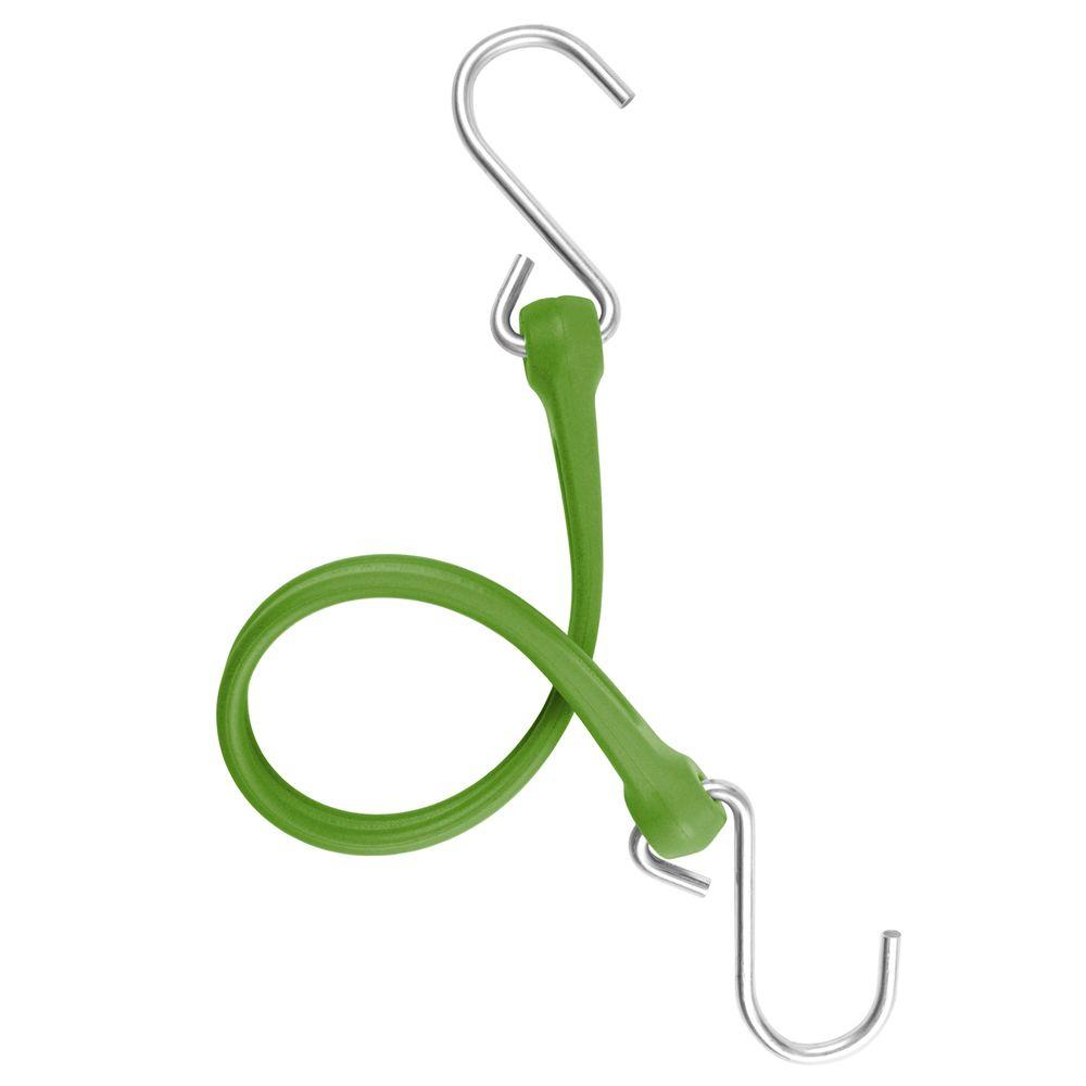 The Perfect Bungee 13 in. EZ-Stretch Polyurethane Bungee Strap with Stainless Steel S-Hooks (Overall Length: 18 in.) in Green-DISCONTINUED